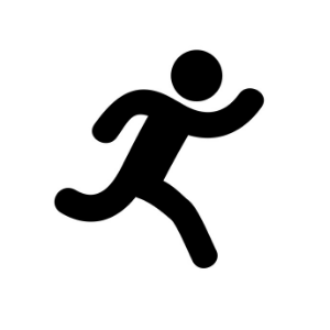 Image of a figure running to represent sports injury